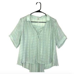 Flowy high low sea foam green tie up blouse Ecoté
